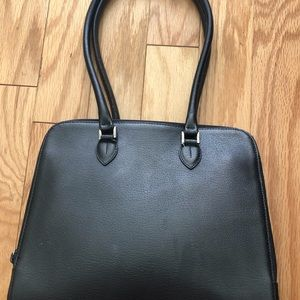 Furla black leather purse with expandable sides